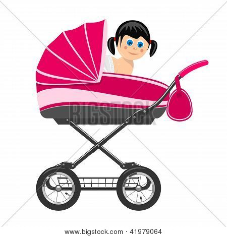 Cute Baby Girl Sitting In Stroller. Illustration