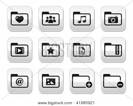 Folder documents music film buttons set