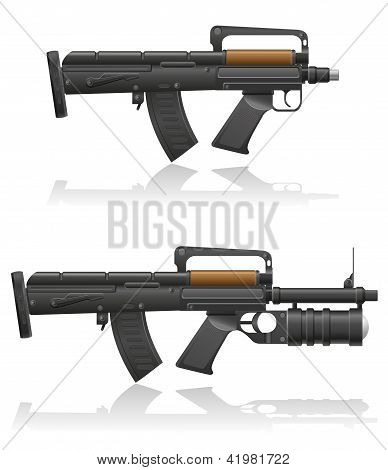 Machine Gun With A Short Barrel And Grenade Launcher Vector Illustration