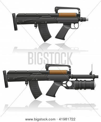 Machine Gun With A Short Barrel And Grenade Launcher Vector Illustration