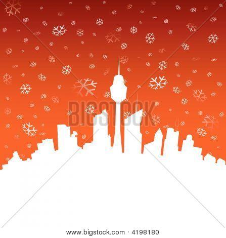 Winter City Illustration