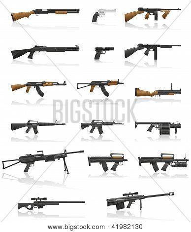 Arma y pistola Set colección iconos Vector Illustration