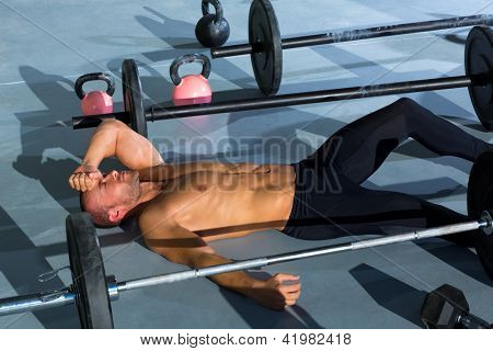 man tired relaxed after workout exercise