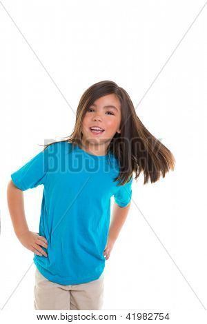 Asian child kid girl in blue happy smiling moving hair over white background