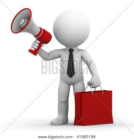 A Happy Businessman With Megaphone And Shopping Bag