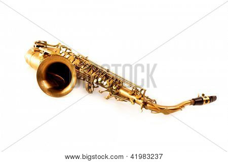Tenor sax golden saxophone isolated on white background