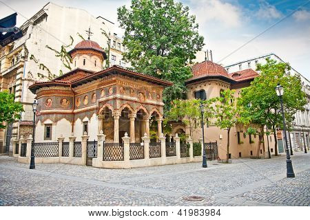 Stavropoleos Monastery , St. Michael and Gabriel church in the old town area in Bucuresti, Romania.