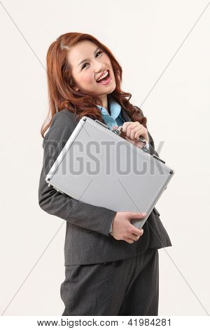 woman holding a brief case