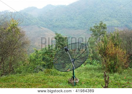 Black Antenna Communication Satellite Dish