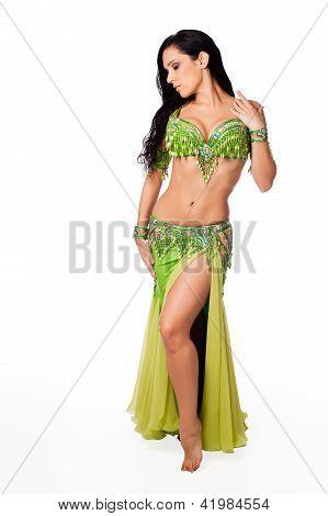Beautiful Belly Dancer Wearing a Green Costume