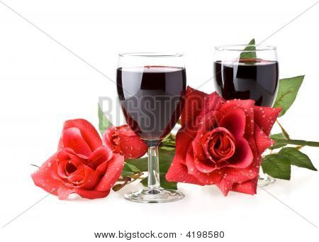 Two Glasses Of Wine, Rose And Cupid.