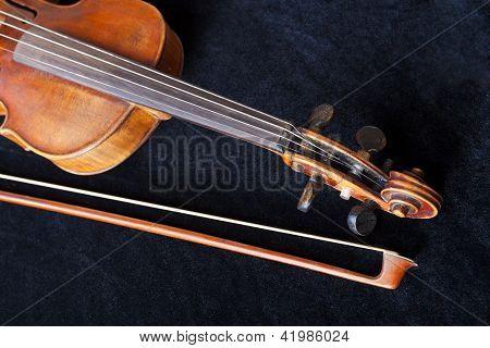 Fiddle Pegbox And Bow On Black Velvet