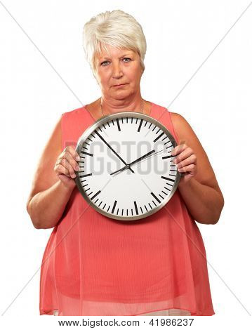 Senior Woman Holding A Clock On White Background
