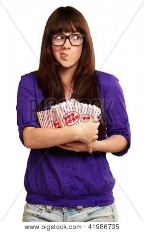 Girl Holding Empty Popcorn Packet Isolated On White Background