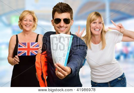Portrait Of Happy Tourist Family, Indoor
