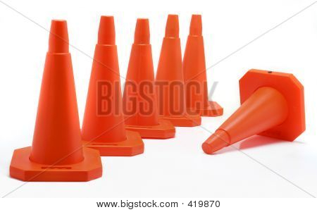 Five Cones Aligned, One Fall Down