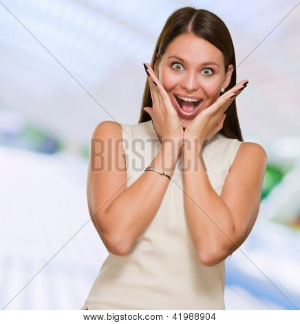 Portrait Of Surprised Woman, outdoor