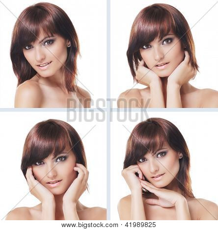 Many portraits of young and healthy brunette isolated on white