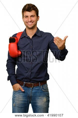 Man With Boxing Gloves And Gesturing Isolated On White Background