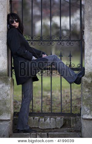 Woman Posing On Entrance