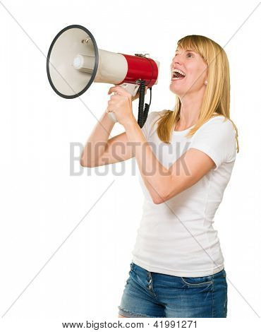 Young Woman With Megaphone Isolated On White Background