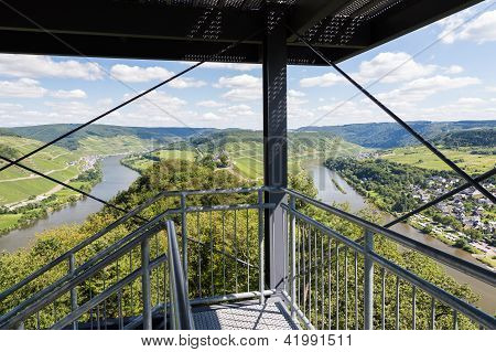 Aerial View From Watch-tower Over German River Moselle Near Punderich