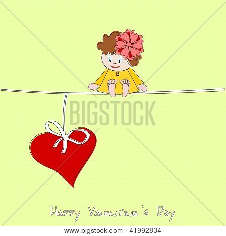 Cute little girl and big red heart - Valentine illustration