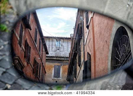 Italian architecture reflected in a mirror