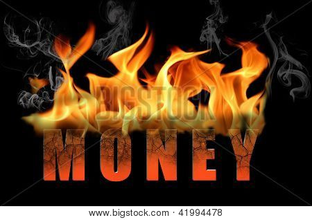 Word Money In Flame Text