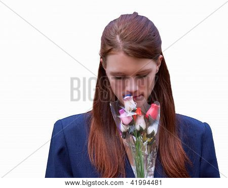 Young Woman Smelling Flowers Isolated On White