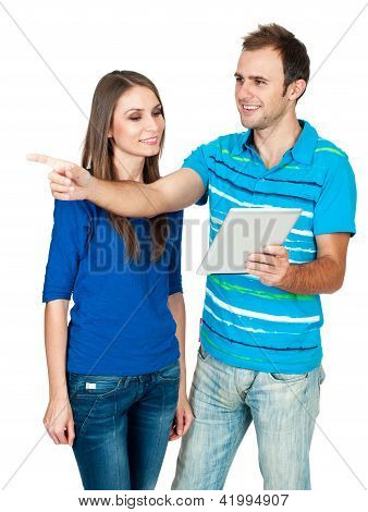 Couple using digital tablet to find city tour isolated on white