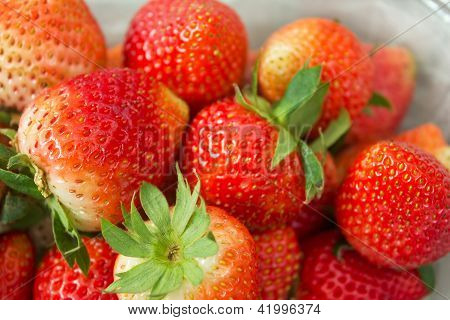 Some Fresh And Clean Stawberries.