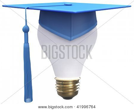 Education degree is bright idea as light bulb and graduation cap with clipping-path