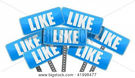 Like Social Media Networking Concept
