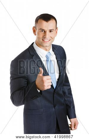Manager thumbs up, isolated on white. Concept of problems solution