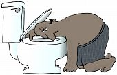 picture of puke  - This illustration depicts a man in underwear with his head resting on a toilet - JPG