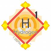 stock photo of hydrogen  - Hydrogen form Periodic Table of Elements V3  - JPG