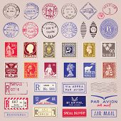 image of monochromatic  - Set of 38 vintage postage stamps marks and stickers from countries all over the world vector - JPG