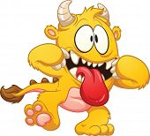 Yellow cartoon monster. Vector clip art illustration with simple gradients. All in a single layer.