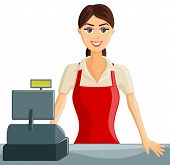 stock photo of cashiers  - Smiling Supermarket Cashier Girl welcoming customers - JPG