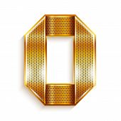 stock photo of arabic numerals  - Arabic numeral folded from a metallic perforated golden ribbon   - JPG