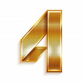 foto of arabic numerals  - Arabic numeral folded from a metallic perforated golden ribbon   - JPG