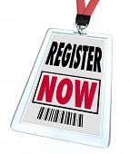 stock photo of credential  - A badge and lanyard with printed pass reading Register Now - JPG