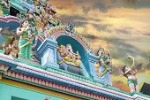 picture of vinayagar  - Sri Layan Sithi Vinayagar Temple Lord Ganesha Deity Statues Gopurams Tower Against Sunset Sky