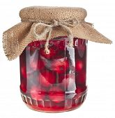 compote glass jar with cherries fruits isolated on white background