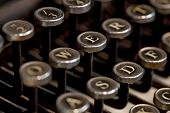 picture of old vintage typewriter  - Detail of the keyboard of a vintage typewriter - JPG