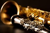 picture of clarinet  - Classic music Sax tenor saxophone and clarinet in black background - JPG