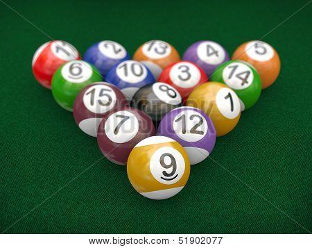 3D Racked Billiard Pool Balls