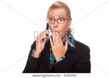 Shocked Blonde Woman On Cell Phone
