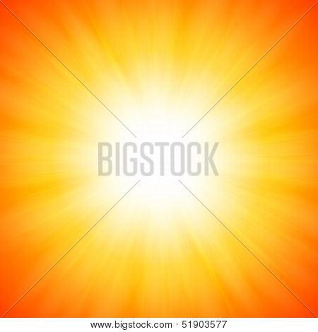 Orange shining vector sun